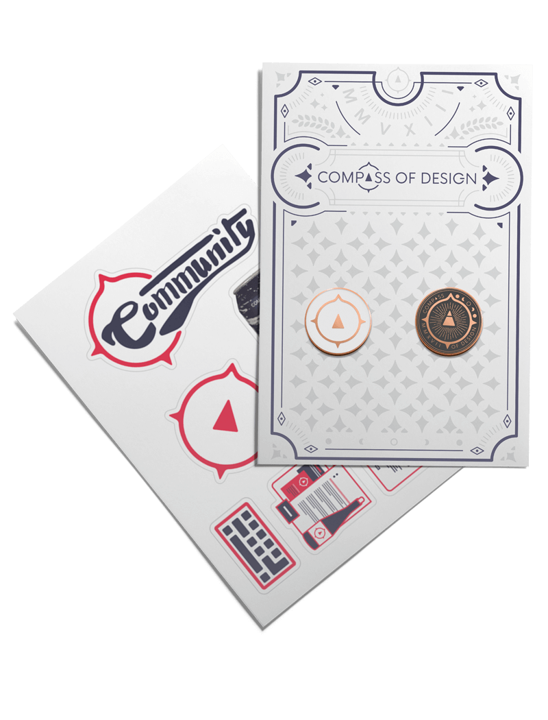 The Compass of Design cards, pins, and stickers